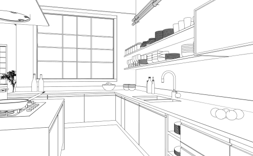 kitchen remodel planning sketch